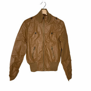 New Look Faux Leather Bomber Jacket M